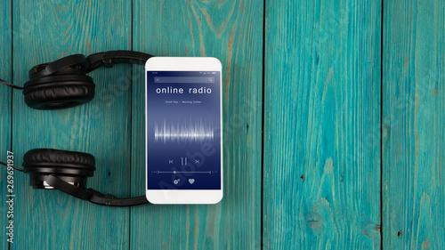 Listen online radio concept - online music player app on smartphone - 269691937