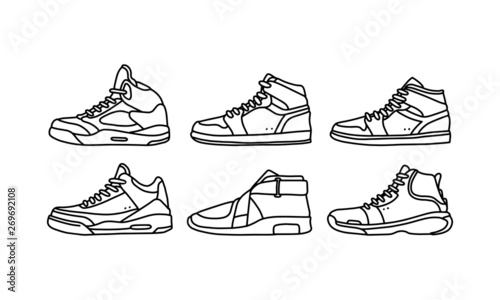 Fotografia Set of sports and lifestyles shoes, sneaker vector hand drawn collection, shoe lineart icon
