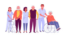 Elderly People Care. Vector Il...