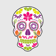 Calavera Sugar Skull Day Of The Dead Floral Skull