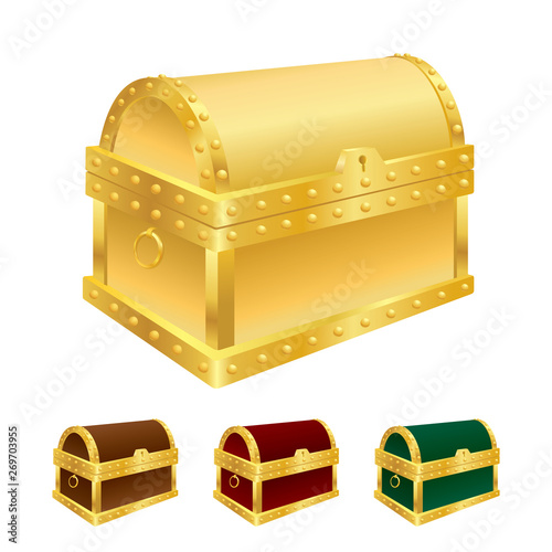Leinwand Poster Vector illustration of treasure chest isolated on white background