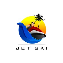 Jet Ski Logo Design With Waves, Coconut Trees, Birds And Sunset