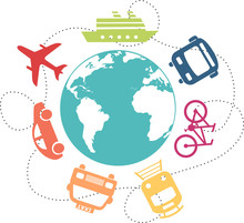 Different Means Of Transport Around A Globe