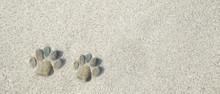 Kleine Füsse Aus Steinen Im Sand