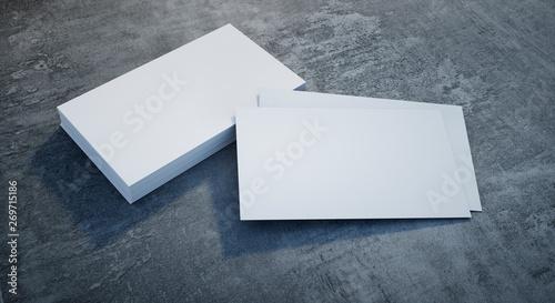 Visitenkarte mit kleinem Stapel auf Stein - Template - 269715186