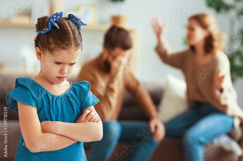 family quarrel divorce parents and child swear, conflict . Wallpaper Mural