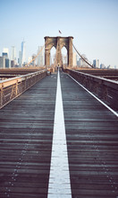 Brooklyn Bridge At Sunrise, Color Toning Applied, New York City, USA.