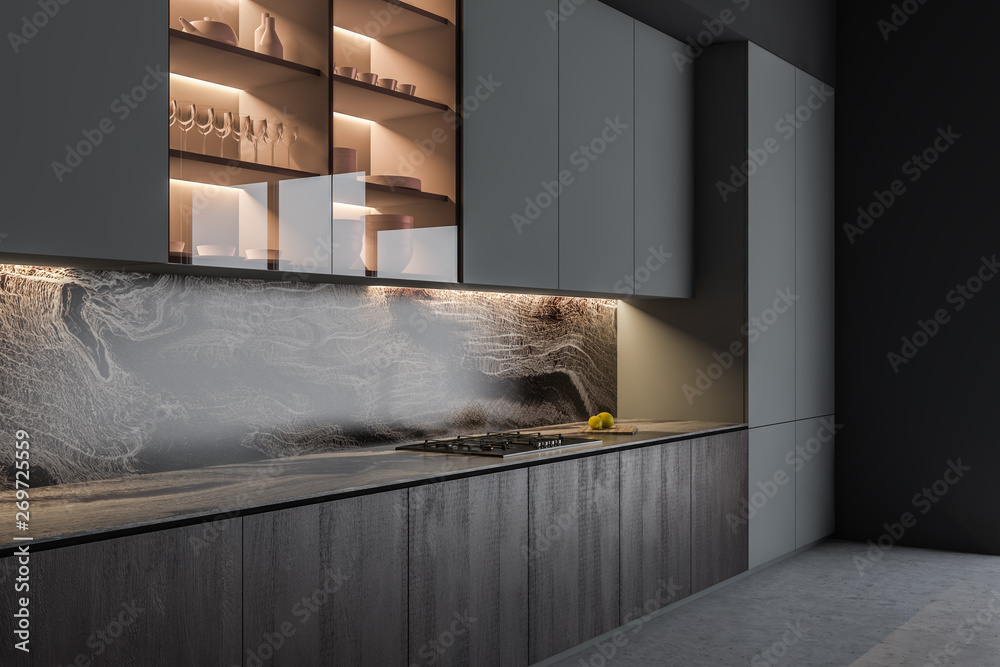 Fototapeta Gray and wooden kitchen interior with counters