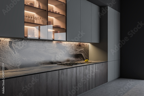 Gray and wooden kitchen interior with counters - fototapety na wymiar