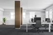 Wooden column open space office interior
