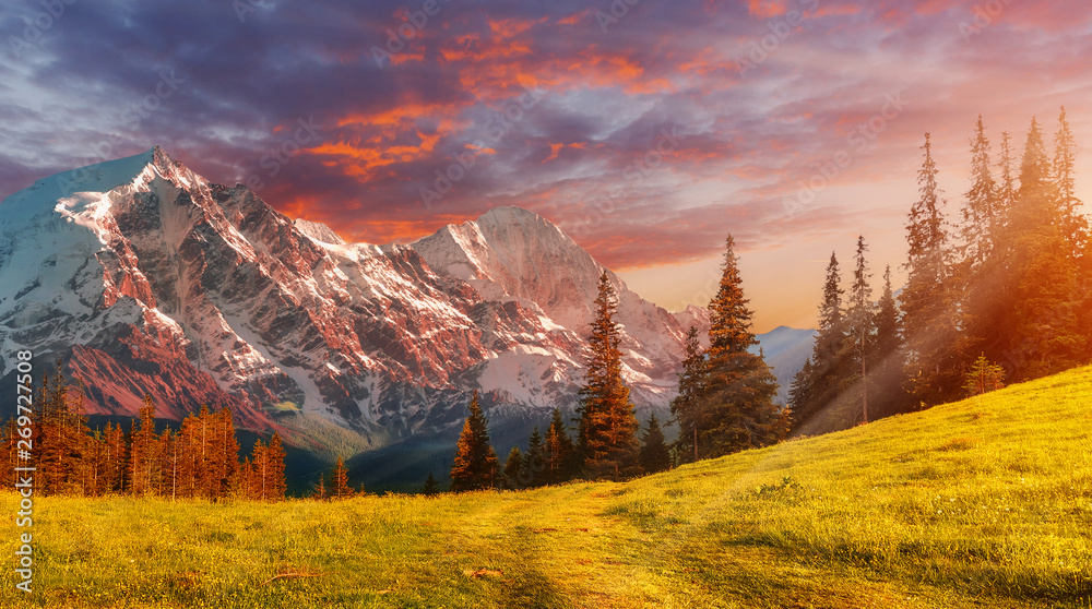 Fototapety, obrazy: Awesome Mountain valley during sunsut with colorful, dramatic sky. Amazing beautiful landscape view of rocks hill in sunny mountains. Wonderful Natural background. instagram filter. Postcard