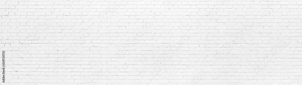 Fototapeta White brick Wall panoramic background