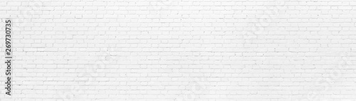 Poster Brick wall White brick Wall panoramic background