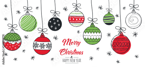 Merry Christmas greeting card red and green with modern baubles Fototapet