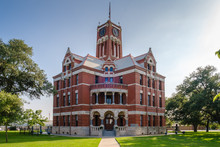 Town Square And Historic Lee County Courthouse Built In 1899. Giddings City In Lee County In Southeastern Texas, United States
