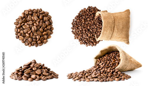Fényképezés Set of coffee beans pile and in a bag, different look on a white background