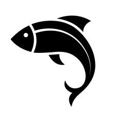 Fish Icon Black Silhouette. Fi...