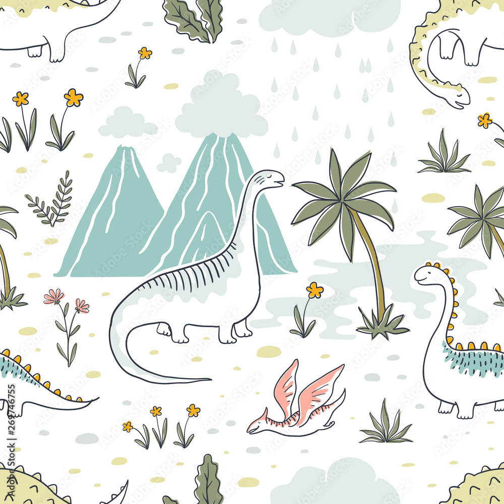 Doodle dinosaur pattern. Seamless textile dragon print, trendy childish fabric background, cartoon dinosaurs. Vector graphic background sketch