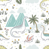 Fototapeta Dinusie - Doodle dinosaur pattern. Seamless textile dragon print, trendy childish fabric background, cartoon dinosaurs. Vector graphic background sketch