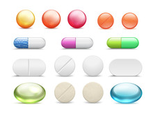 Realistic Pills. Medicine Tablets Round Vitamins And Capsule Drugs, Different Healthcare Pharmacy. Vector Pharmaceutical Dosage Cure Medicines Set