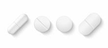 Realistic White Pills. 3D Drugs Medicine Capsules And Vitamins, Healthcare Pharmacy Tablets. Vector Different Isolated Painkillers Medicines On White Background