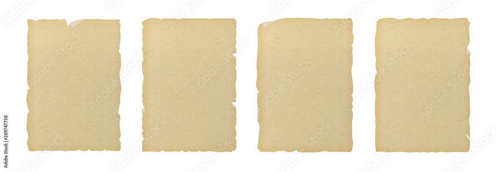 Fototapeta Old vintage textured ripped paper isolated on white background.