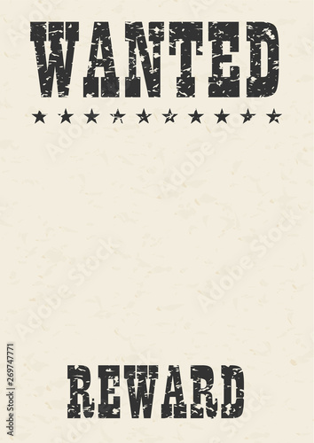 Fotografie, Obraz Grunge wanted poster with textured gray paper background.