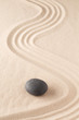 meditation stone in Japanese zen garden. Concept for focus and concentration to reach spiritual balance, purity and harmony of mind and soul. Spa wellness or mindfulness background with copy space. .