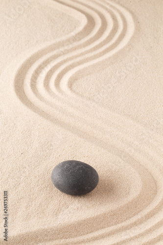 Acrylic Prints Stones in Sand meditation stone in Japanese zen garden. Concept for focus and concentration to reach spiritual balance, purity and harmony of mind and soul. Spa wellness or mindfulness background with copy space. .