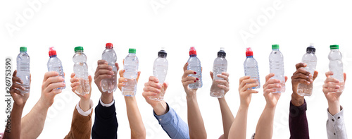 Obraz Different People Holding Water Bottles In A Row - fototapety do salonu