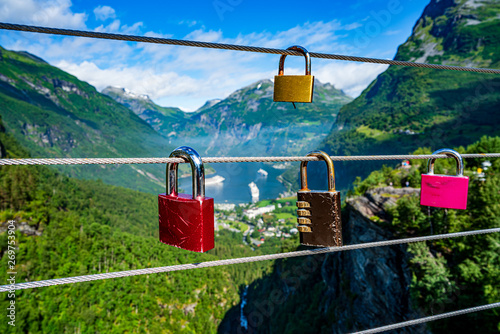 Geiranger fjord view point Lookout observation deck, Norway. Fototapet