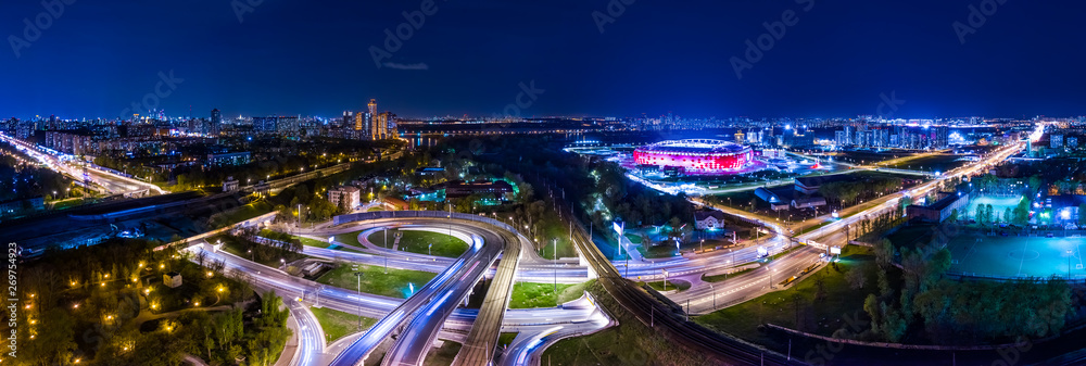 Fototapety, obrazy: Night Aerial view panorama of a freeway intersection traffic trails in night Moscow