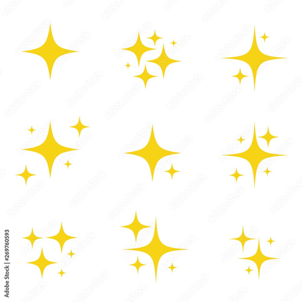Fototapety, obrazy: Set of original vector stars sparkle firework, decoration twinkle, shiny flash icon. Vector Illustration