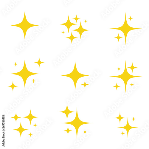 Fotografia Set of original vector stars sparkle firework, decoration twinkle, shiny flash icon