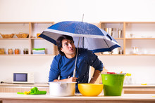 Young Man In Water Leakage Fro...