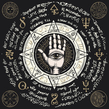 Vector Illustration With Open Hand With All Seeing Eye Symbol. Human Palm With Signs Of The Planets, Ancient Hieroglyphs, Medieval Runes, Spiritual Symbols. Divination And Prediction Of The Future