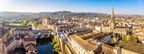 Spoed Foto op Canvas Oude gebouw Aerial view of Pulteney bridge in Bath, England