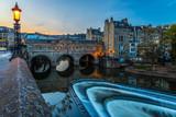 Evening view of Pulteney bridge in Bath, England