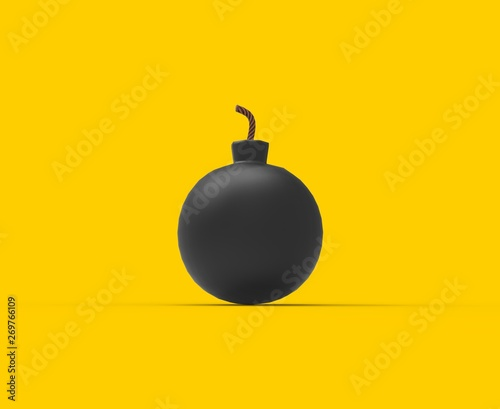 Black Bomb isolated 3D Rendering Canvas Print