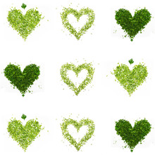 A Green Hearts Of Chopped Parsley And Dill On White Background