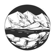 Wild Natural Landscape With Mountains, Lake, Pines, Rocks. Hand Drawn Illustration Converted To Vector.