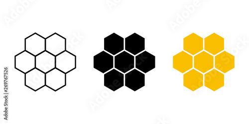 Set of honeycomb isolated on white background Fototapete