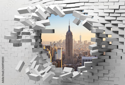 3d wallpaper cracked brick wall, bullet hole, destruction, abstract background