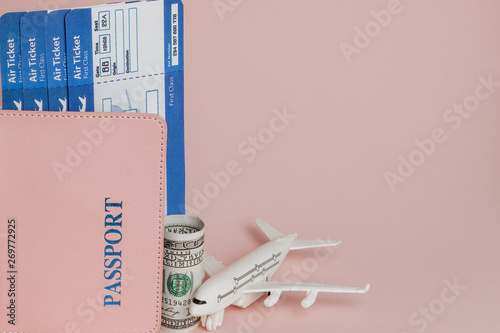 Passport, dollars, plane and air ticket on a pink background Wallpaper Mural