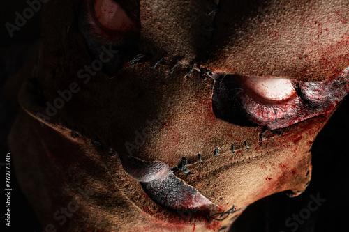 Evil monster murderer face in leather mask. Slika na platnu