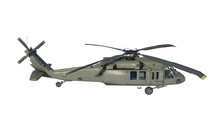 Helicopter In Flight, Military Aircraft, Army Chopper Isolated On White Background, Side View, 3D Rendering