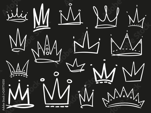 Collection of crowns on black Wallpaper Mural
