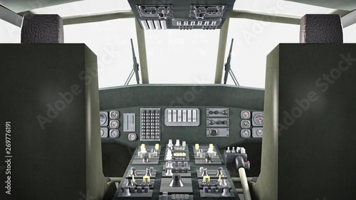 Cockpit of helicopter in flight, military aircraft, army chopper