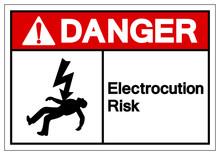 Danger Electrocution Risk Symbol Sign, Vector Illustration, Isolated On White Background Label .EPS10