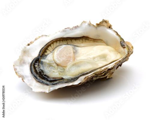 Fototapeta Fresh opened oyster on white background obraz